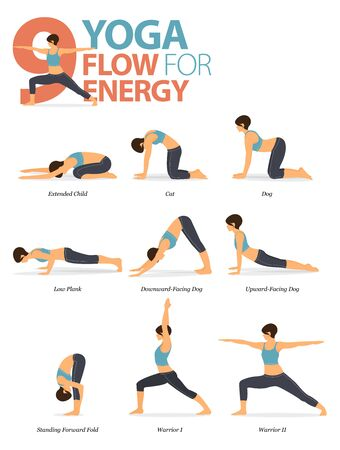 Infographic of 9 Yoga poses for workout at home in concept of yoga flow for energy in flat design. Woman exercising for body stretching. Yoga posture or asana for fitness infographic. Flat Cartoon Vector Illustration. Illusztráció
