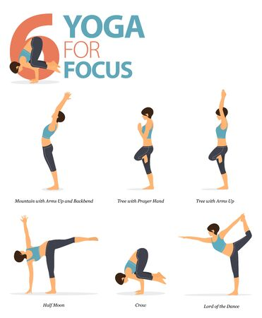 Infographic of 6 Yoga poses for workout at home in concept of yoga for focus in flat design. Woman exercising for body stretching. Yoga posture or asana for fitness infographic. Flat Cartoon Vector Illustration.
