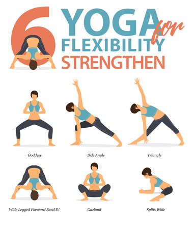 Infographic of 6 Yoga poses for workout at home in concept of yoga for flexibility strengthen in flat design. Woman exercising for body stretching. Yoga posture or asana for fitness infographic. Flat Cartoon Vector Illustration. Illusztráció