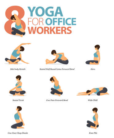 Infographic of 8 Yoga poses for workout at home in concept of yoga for office worker in flat design. Woman exercising for body stretching. Yoga posture or asana for fitness infographic. Flat Cartoon Vector Illustration.