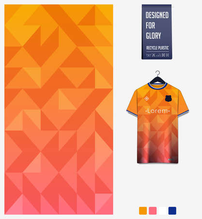 Orange gradient geometry shape abstract background. Fabric textile pattern design for soccer jersey, football kit, sport uniform. T-shirt mockup template design. Vector Illustration.