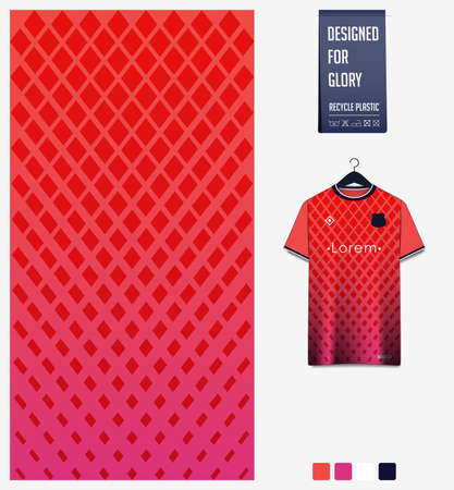 Red gradient geometry shape abstract background. Fabric textile pattern design for soccer jersey, football kit, sport uniform. T-shirt mockup template design. Vector Illustration.