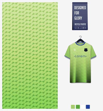 Green gradient geometry shape abstract background. Fabric textile pattern design for soccer jersey, football kit, sport uniform. T-shirt mockup template design. Vector Illustration. 向量圖像