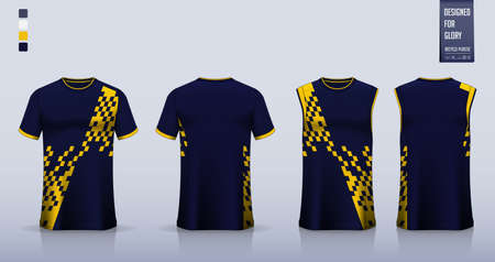 T-shirt mockup or sport shirt template design for soccer jersey or football kit. Tank top for basketball jersey or running singlet. Blue sport uniform in front view back view. Vector Illustration.