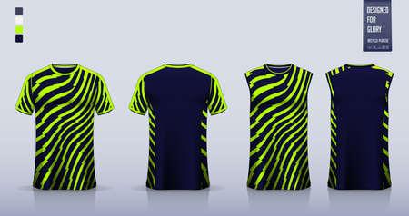 Blue – green thunder pattern T-shirt sport, Soccer jersey, football kit, basketball uniform, tank top, racing jersey , motorsport shirt and running singlet mockup.