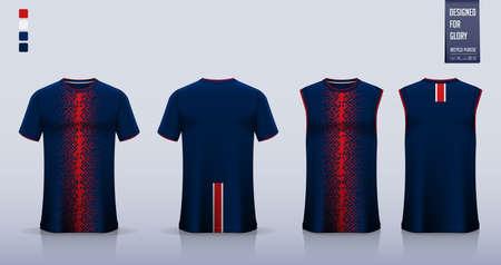 Blue – red checkered pattern T-shirt sport, Soccer jersey, football kit, basketball uniform, tank top, racing jersey , motorsport shirt and running singlet mockup.