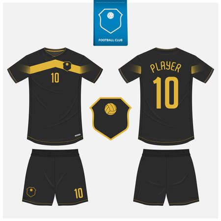 Soccer jersey or football kit mockup template design for sport club. Football shirt, shorts mockup. Soccer uniform in front view, back view.