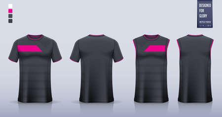 Black Pink T-shirt mockup or sport shirt template design for soccer jersey or football kit.