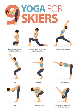 9 Yoga poses for skiers concept. Woman exercising for body stretching. Yoga posture or asana for fitness infographic. Flat cartoon vector.