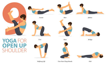 9 Yoga poses or asana posture for workout in Open up shoulder concept. Women exercising for body stretching. Fitness infographic. Flat cartoon vector