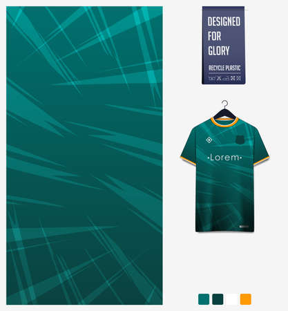 Fabric pattern design. Thunder pattern on green background for soccer jersey, football kit, bicycle, e-sport, basketball, sports uniform, t-shirt mockup template. Abstract sport background. Vector.