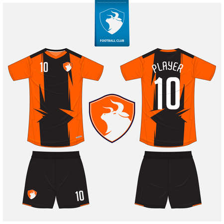 Soccer jersey or football kit mockup template design for sport club. Football t-shirt sport, shorts mockup. Soccer uniform in front view, back view. Bull in flat design. Vector Illustration.