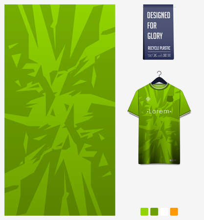 Fabric pattern design. Mosaic pattern on green background for soccer jersey, football kit or sports uniform. T-shirt mockup template. Abstract sport background.