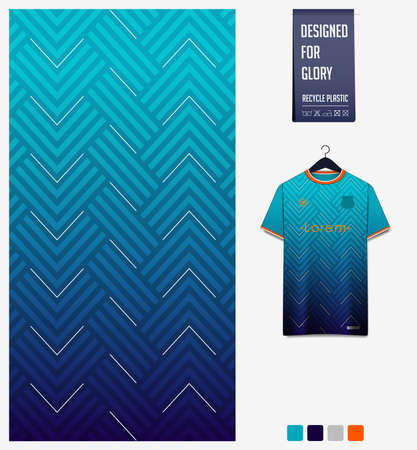 Fabric pattern design. Geometric pattern on blue background for soccer jersey, football kit or sports uniform. T-shirt mockup template. Abstract sport background.