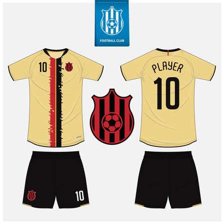 Soccer jersey or football kit mockup template design for sport club. Vector Illustration.
