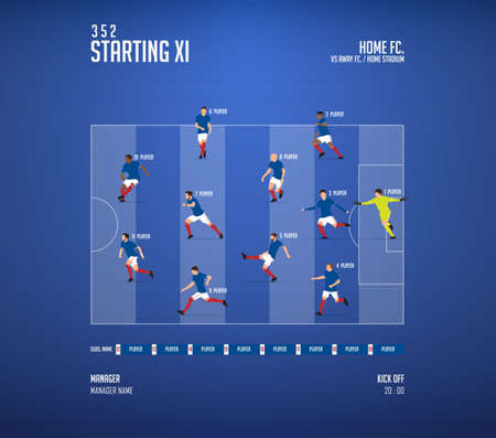 Football or soccer match lineups formation infographic. Set of football player position on soccer field. Football kit or soccer jersey icon in flat design. Vector Illustration.