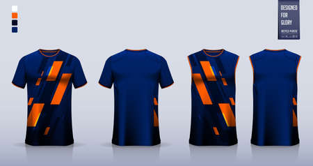 Blue T-shirt sport, Soccer jersey, football kit, basketball uniform, tank top, and running singlet mockup. Fabric pattern design. Vector.