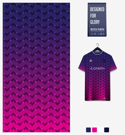 Fabric pattern design. Geometric pattern on violet background for soccer jersey, football kit or sports uniform. T-shirt mockup template. Abstract sport background. 矢量图像