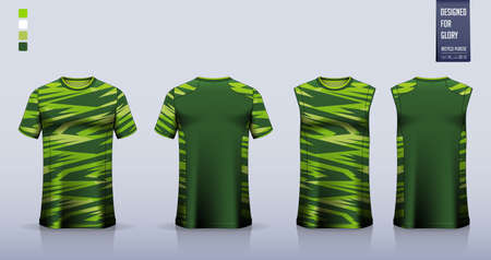 Green T-shirt sport, Soccer jersey, football kit, basketball uniform, tank top, and running singlet mockup. Fabric pattern design. Vector.