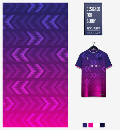 Fabric pattern design. Geometric pattern on violet background for soccer jersey, football kit or sports uniform. T-shirt mockup template. Abstract sport background. Stock Illustratie