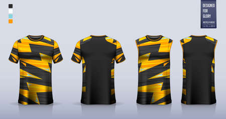 Black Yellow T-shirt sport, Soccer jersey, football kit, basketball uniform, tank top, and running singlet mockup. Fabric pattern design. Vector.