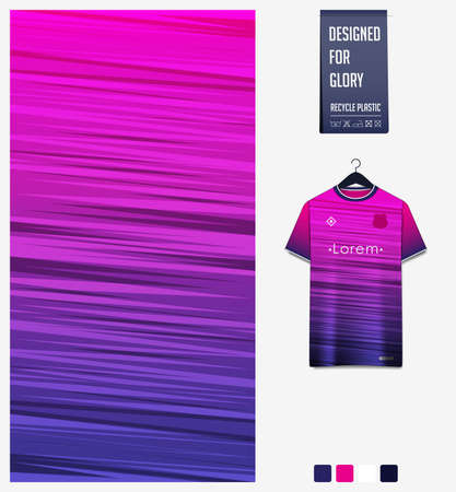 Fabric pattern design. Abstract pattern on violet background for soccer jersey, football kit or sports uniform. T-shirt mockup template. Abstract sport background.