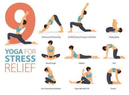 9 Yoga poses or asana posture for workout in Stress Relief concept. Women exercising for body stretching. Fitness infographic. Flat cartoon vector