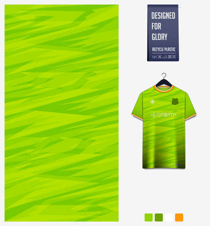 Fabric pattern design. Mosaic pattern on green background for soccer jersey, football kit or sports uniform. T-shirt mockup template. Abstract sport background. Vector.