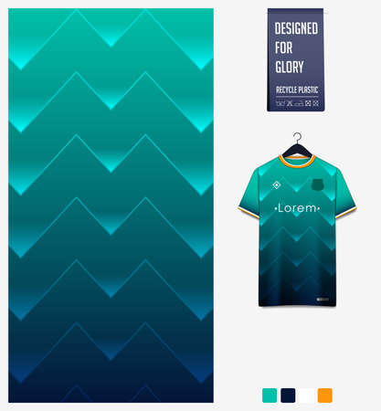 Fabric pattern design. Geometric pattern on green background for soccer jersey, football kit or sports uniform. T-shirt mockup template. Abstract sport background. Stock Illustratie