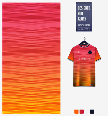 Fabric pattern design. Abstract pattern on orange background for soccer jersey, football kit or sports uniform. T-shirt mockup template. Abstract sport background.