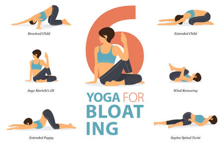 6 Yoga poses or asana posture for workout in Yoga for Bloating concept. Women exercising for body stretching. Fitness infographic. Flat cartoon vector