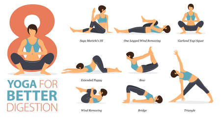 8 Yoga poses or asana posture for workout in Better Digestion concept. Women exercising for body stretching. Fitness infographic. Flat cartoon vector