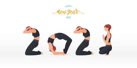 Happy New Year 2021 banner with yoga poses. Year of good health. Banner design template for New Year 2021 decoration in Yoga Concept. Vector illustration.