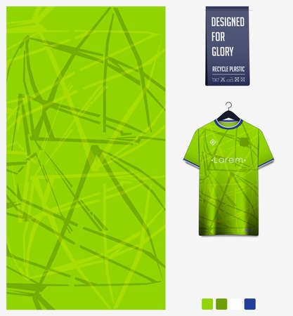 Fabric pattern design. Abstract pattern on green background for soccer jersey, football kit,  e-sport, basketball, sports uniform, t-shirt mockup template. Abstract background. Vector Illustration. Stock Illustratie