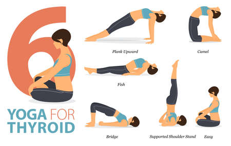 Infographic 6 Yoga poses for workout in concept of Yoga for Thyroid in flat design. Women exercising for body stretching. Yoga posture or asana for fitness infographic. Cartoon Vector Illustration.