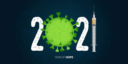 Happy New Year 2021 banner with Covid-19 Vaccine and Virus. Year of hope. Banner design template for New Year 2021 decoration in Covid-19 Vaccine Concept. Vector illustration. Stock Illustratie