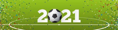 Happy New Year 2021 banner with soccer ball and paper confetti on soccer field background. Banner template design for New Year decoration in Soccer or Football Concept. Vector illustration. Stock Illustratie
