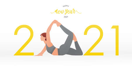 Happy New Year 2021 banner with yoga poses or asana posture. Year of good health. Banner design template for New Year 2021 decoration in Yoga Concept. Vector illustration.