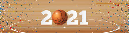 Happy New Year 2021 banner with basketball ball and paper confetti on basketball court background. Banner template design for New Year decoration in American Sport Concept. Vector illustration.