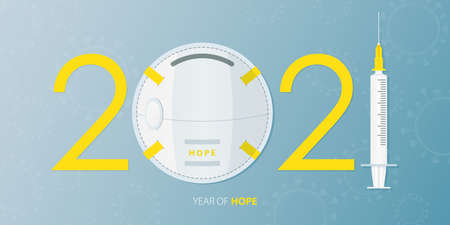 Happy New Year 2021 banner with Covid-19 Vaccine, Virus and Face Mask. Year of hope. Banner design template for New Year 2021 decoration in Covid-19 Vaccine Concept. Vector illustration. Stock Illustratie