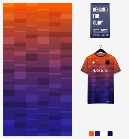 Fabric pattern design. Geometric pattern on orange gradient background for soccer jersey, football kit, bicycle, e-sport, basketball, sport uniform, t-shirt mockup template. Abstract sport background.