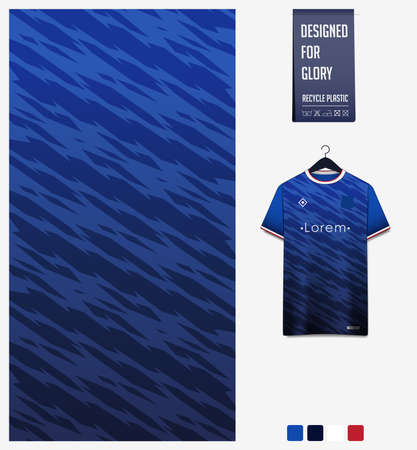 Fabric pattern design. Geometric pattern on blue gradient background for soccer jersey, football kit, bicycle, e-sport, basketball, sports uniform, t-shirt mockup template. Abstract sport background.