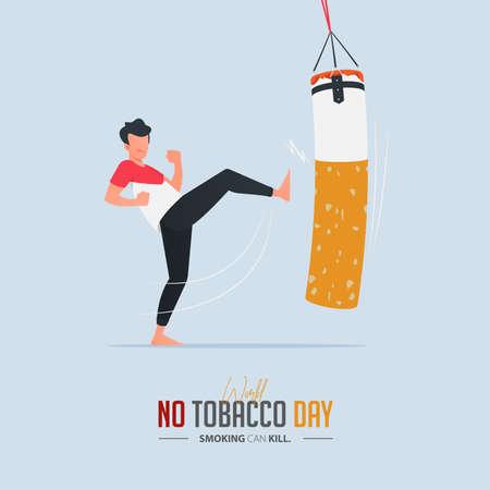 May 31st World No Tobacco Day poster design. Man kicking boxing sandbag defines to man ifighting to quit smoking. Stop smoking poster for disease warning. No smoking banner. Vector