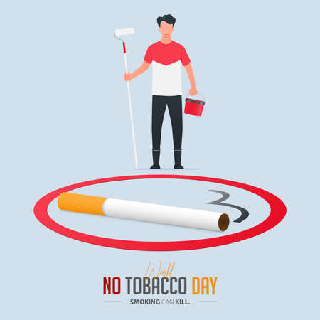 May 31st World No Tobacco Day poster design. Man holds paint roller, paint bucket to paint no-smoking sign defines to quit smoking. Stop smoking poster for disease warning. No smoking banner. Vector Illusztráció