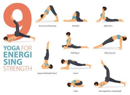 9 Yoga poses or asana posture for workout in Energising Strength concept. Women exercising for body stretching. Fitness infographic. Flat cartoon vector Ilustração
