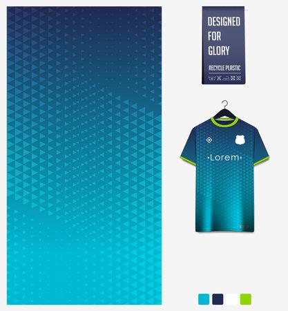 Soccer jersey pattern design. Geometric pattern on blue abstract background for soccer kit, football kit, bicycle, e-sport, basketball, t-shirt mockup template. Fabric pattern.Sport background. Vector Ilustração