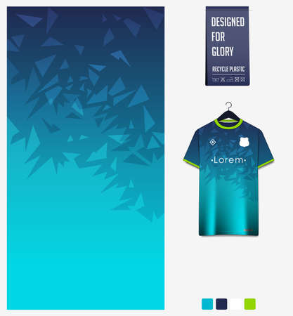 Soccer jersey pattern design. Mosaic pattern on blue abstract background for soccer kit, football kit, bicycle, e-sport, basketball, t-shirt mockup template. Fabric pattern. Sport background. Vector Ilustração