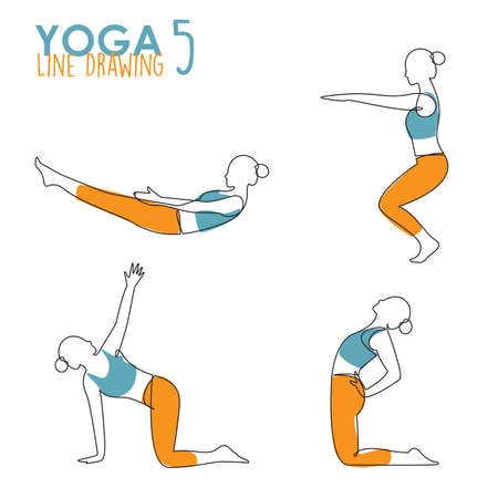 Continuous line drawing of woman yoga pose or asana posture. Female exercising for body stretching.  4 Yoga poses for workout in contour free hand drawing. Vector Illustration.