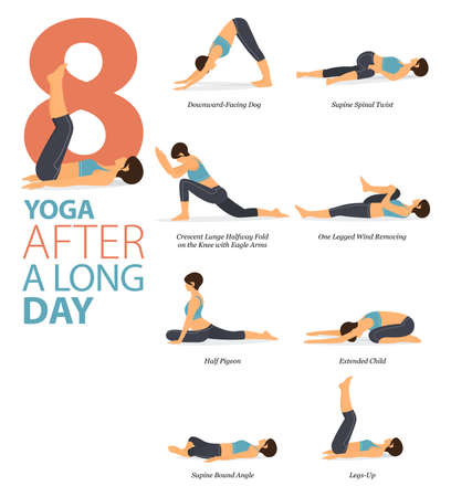 8 Yoga poses or asana posture for workout in After A Long Day concept. Women exercising for body stretching. Fitness infographic. Flat cartoon vector