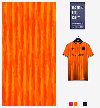 Soccer jersey pattern design. Stripe pattern on orange abstract background for soccer kit, football kit or sports uniform. T-shirt mockup template. Fabric pattern. Sport background. Vector. Ilustração